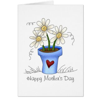 Mother's Flowers · Blue Flower Pot Card