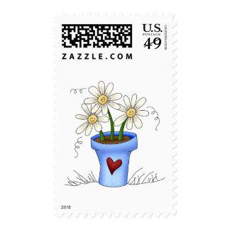 Mother's Flowers · Blue Flower Pot Postage