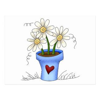 Mother's Flowers · Blue Flower Pot Postcard
