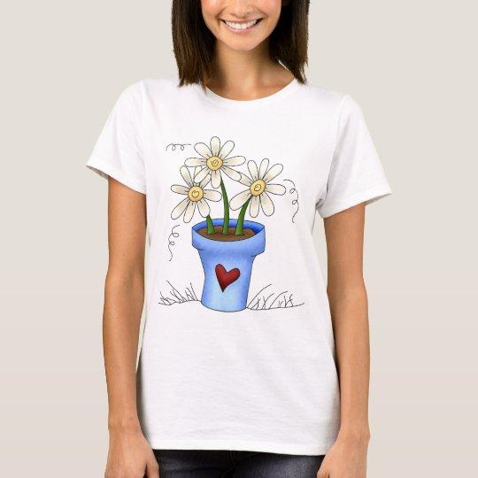 Mother's Flowers · Blue Flower Pot T-Shirt