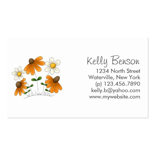 Mother's Flowers · Orange & White Daisies Business Card Template