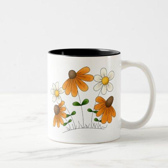 Mother's Flowers · Orange & White Daisies Two-Tone Coffee Mug