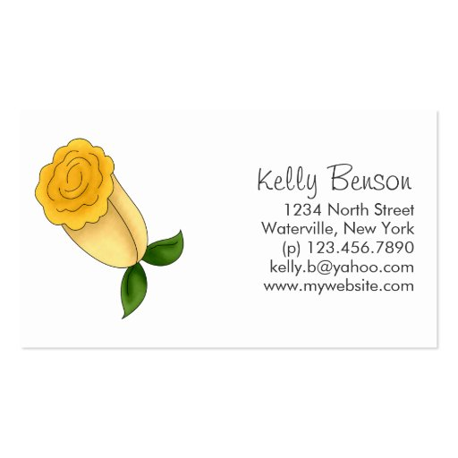 Mother's Flowers · Yellow Rose Business Card Template