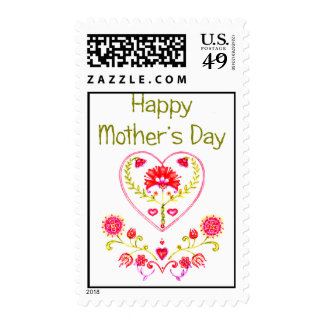 Mother's Fower Heart Postage Stamp
