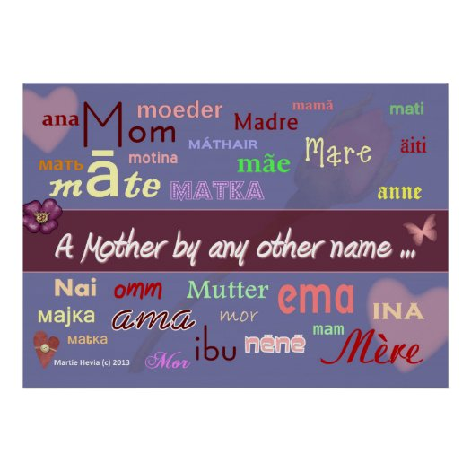 Mothers in Any Language - WordArt™ Poster