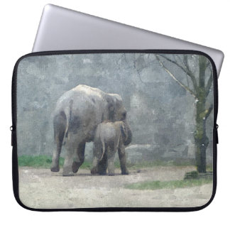 Mother's Love Elephant and Baby Laptop Sleeve