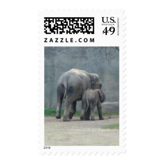 Mother's Love Elephant with Baby Stamp