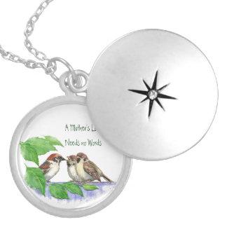 Mother's Love Needs no Words, Sparrow Birds Locket Necklace