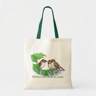 Mother's Love Needs no Words, Sparrow Birds Tote Bag