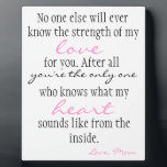 """Mother&#39;s Love Plaque<br><div class=""""desc"""">A great gift for your son or daughter. About how special the bond between mother and daughter or son is to a mother.</div>"""