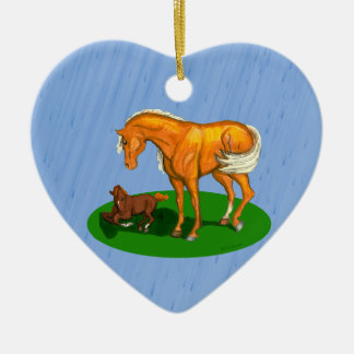 Mothers Mare Shading Foal Heart Ornament
