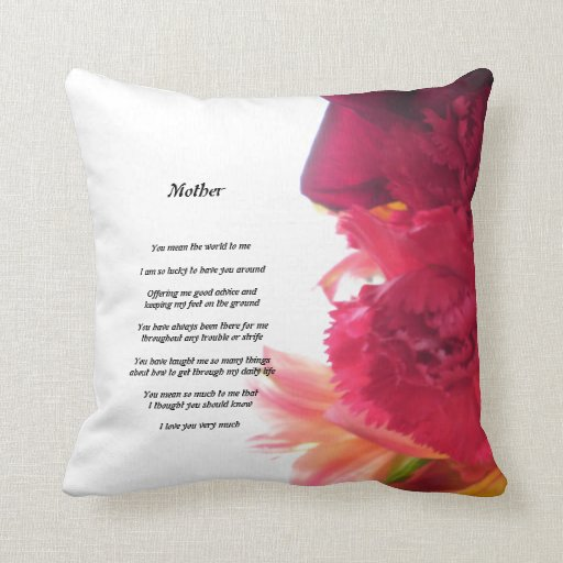 Mother's Poem pattern pillow