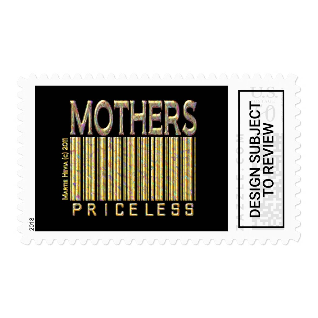Mothers: Priceless - Barcode - Postage Stamp (Blac