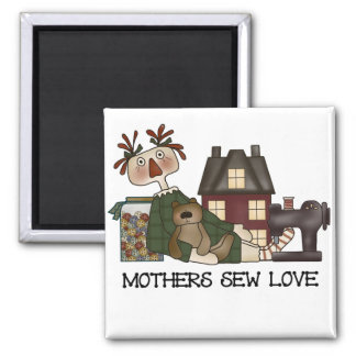 Mothers Sew Love T shirts and Gifts 2 Inch Square Magnet