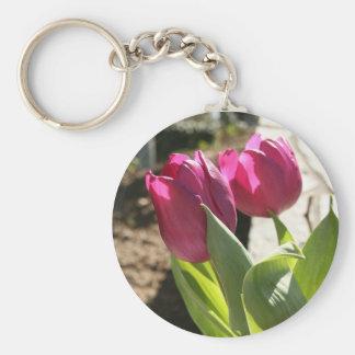 Mother's Tulips Basic Round Button Keychain