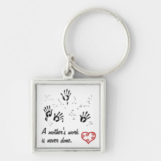 Mother's Work Silver-Colored Square Keychain