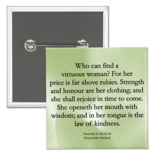 Mothers' Worth Cannot be Measured  (Proverbs 31) 2 Inch Square Button