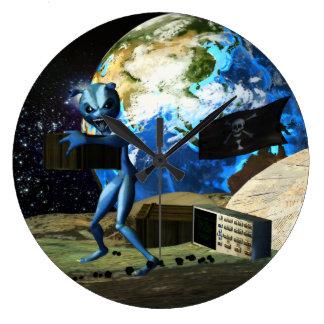 Mothership Alien Pirate Large Clock