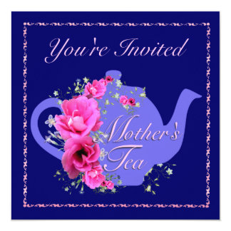 Mother'sl Tea Invitations Teapot and Pink Flowers