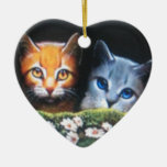 Mothwing and Willow pelt Double-Sided Heart Ceramic Christmas Ornament