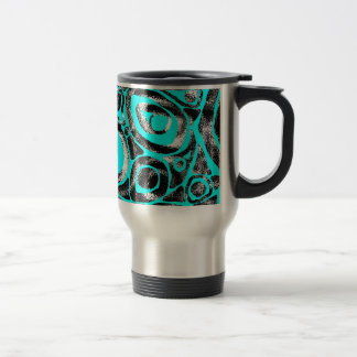 Motif Blue Black White Travel Mug