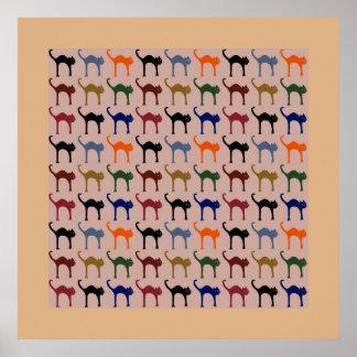 motif chat / cat pattern posters