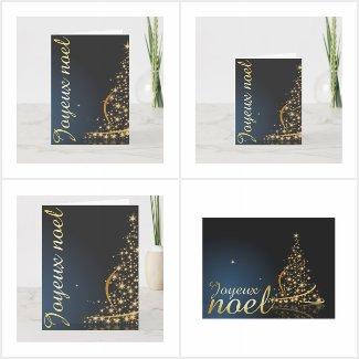 Motif de Noël bleu avec arbre de Noël doré
