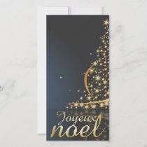 Motif de Noël bleu avec arbre de Noël doré Holiday Card