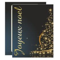 Motif de Noël bleu avec arbre de Noël doré Invitation