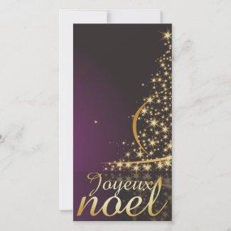 Motif de Noël pourpre avec arbre de Noël doré Holiday Card