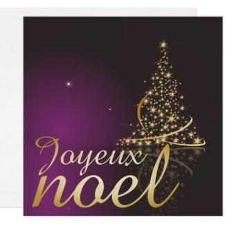 Motif de Noël pourpre avec arbre de Noël doré Invitation