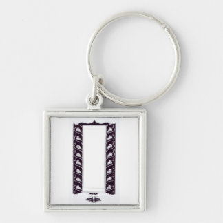 Motif design, probably from 'Le Morte d'Arthur', c Silver-Colored Square Keychain