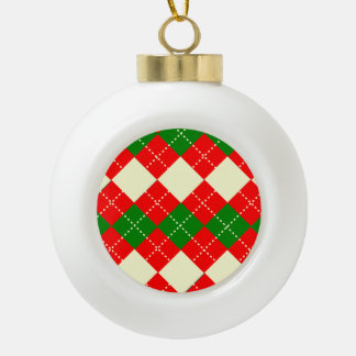 motif losange patterns ceramic ball christmas ornament