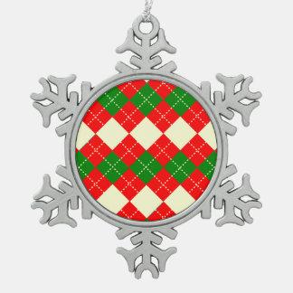 motif losange patterns snowflake pewter christmas ornament