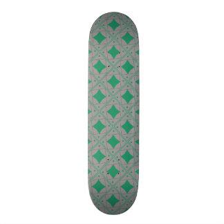 motif pattern forme géométrique vert et gris custom skate board