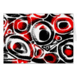 Motif Red Black Abstract Blank Card