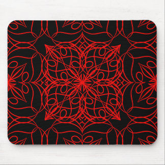 Motif Red Flower Mouse Pad
