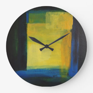"""""""""""Motion"""" Blue and Yellow Round (Large) Wall Clock"""