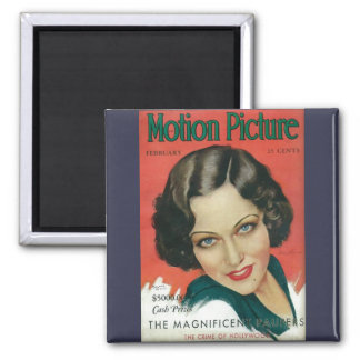 Motion Picture February 1931 Gloria Swanson cover 2 Inch Square Magnet