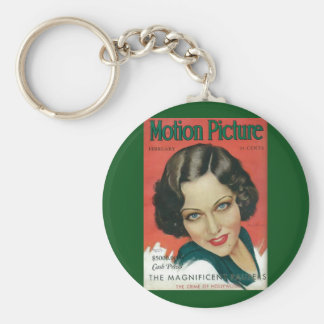 Motion Picture February 1931 Gloria Swanson cover Basic Round Button Keychain