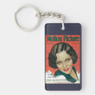 Motion Picture February 1931 Gloria Swanson cover Double-Sided Rectangular Acrylic Keychain