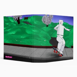 Motion Rotation skateboarding at park - BlueGreen 3 Ring Binder