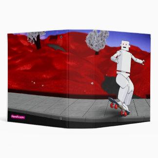 Motion Rotation skateboarding at park - red 3 Ring Binder