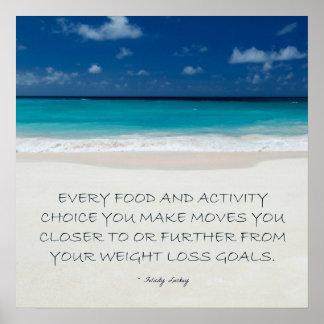 Motivación de la pérdida de peso La playa alista Impresiones