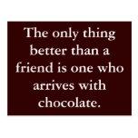 Motivación de la postal de la amistad del chocolat