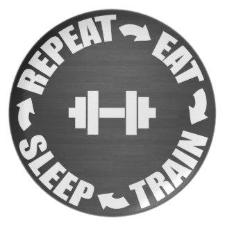 Motivación del gimnasio del entrenamiento de la platos de comidas