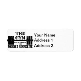 Motivación del gimnasio etiqueta de remitente