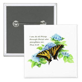 Motivación inspirada de la escritura de la biblia  pin cuadrada 5 cm