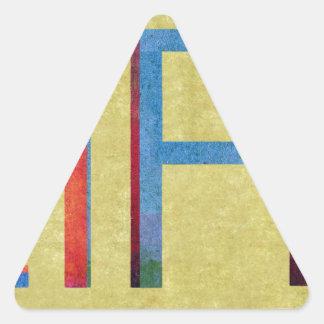 Motivación multicolora del estilo del vintage de pegatina triangular