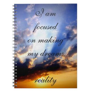Motivación positiva de la afirmación sobre sueños note book
